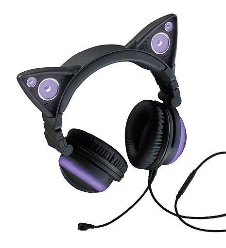 【中古】ヘッドフォン Brookstone AXENT WEAR CAT EAR HEADPHONES (パープル) [990634](状態:キャリングケース状態難)