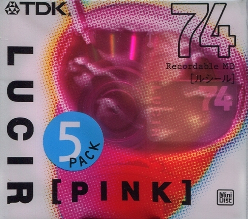 TDK Mini Disc for Recording LUCIR PINK 74 min 5 Pack [MD-LU74PKX5S]