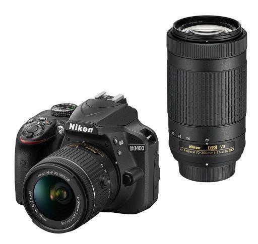 【中古】カメラ Nikon デジタル一眼レフカメラ D3400 ダブルズームキット 2416万画素 (ブラック) [D3400WZBK]