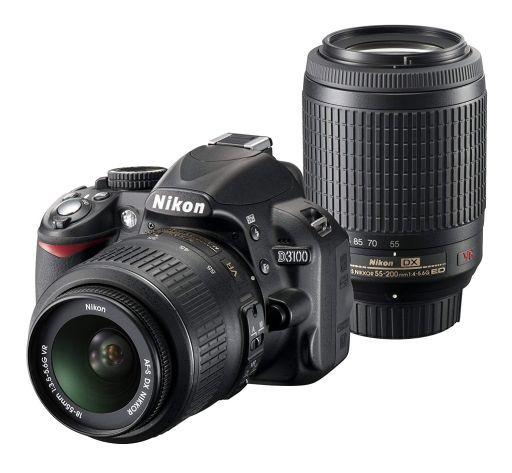 【中古】カメラ Nikon デジタル一眼レフカメラ D3100 200mmダブルズームキット 1420万画素 (ブラック)(状態:不備有 ※詳細については備考をご覧ください)