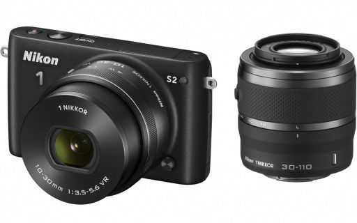 レンズ交換式アドバンストカメラ Nikon 1 S2 ダブルズームキット 1418万画素 (ブラック) [S2WZBK] (状態:箱状態難※内箱含む)