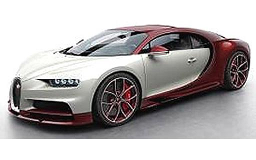 【予約】ミニカー 1/43 Bugatti Chiron(カーボンレッド×グレイシャー) [LS459E]