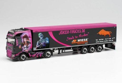 """ヘルパ(Herpa) 予約 ミニカー 1/87 DAF XF SSC 可動式床セミトレーラー """"Joker Trucks/Trucker-Babe Tamara"""" [HE313674]"""