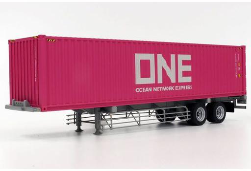 プラッツ/ケンクラフト(KEN KRAFT) 新品 ミニカー 1/50 40フィート海上コンテナ ONE Ocean Network Express & 日本トレクス 専用運搬セミトレーラ [KK1007ONE]