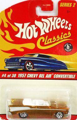 【中古】ミニカー 1/64 1957 CHEVY BEL AIR CONVERTIBLE(ゴールド) 「Hot Wheels Classics Series2」 [J2760]