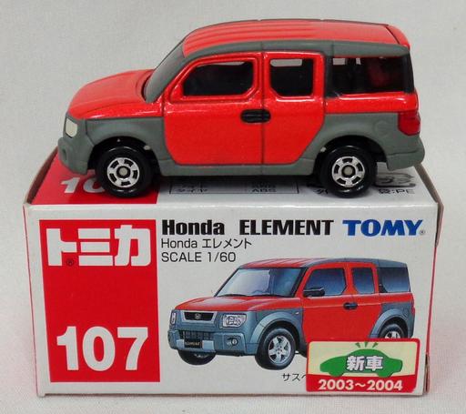 【中古】ミニカー 1/60 Honda エレメント(オレンジ×グレー/赤箱) 「トミカ No.107」