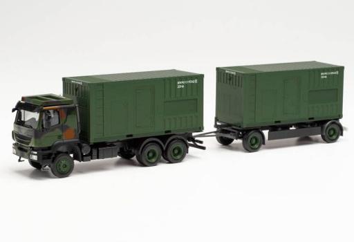 ヘルパ(Herpa) 予約 ミニカー 1/87 イベコ Trakker トレーラー付コンテナトラック with 発電機 Bundeswehr [HE746847]