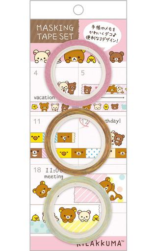 【新品】シール・ステッカー(キャラクター) 台紙ピンク マスキングテープセット(3個組) 「リラックマ」