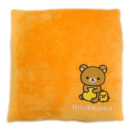 【中古】クッション・抱き枕・本体(キャラクター) リラックマ&キイロイトリ(オレンジ) だらだらモチモチクッション 「リラックマ」