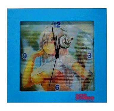 【中古】置き時計・壁掛け時計(キャラクター) すーぱーそに子 チェンジングクロック ブルー