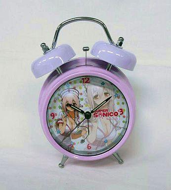 【中古】置き時計・壁掛け時計(キャラクター) すーぱーそに子 ボイス目覚まし時計 ピンク