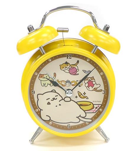 【中古】置き時計・壁掛け時計(キャラクター) まんぷくさん(イエロー) ツインベルクロック 「ねこあつめ」