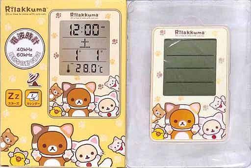 【中古】置き時計・壁掛け時計(キャラクター) リラックマ もっとのんびりネコ (クリーム) 電波デジタルクロック 「リラックマ」