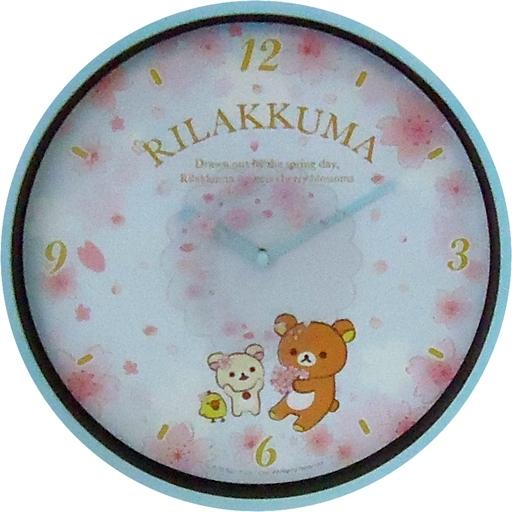 【中古】置き時計・壁掛け時計(キャラクター) ブルー ムービングクロック 桜リラックマテーマ 「リラックマ」