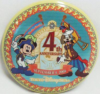 【中古】バッジ・ピンズ(キャラクター) ミッキーマウス&グーフィー 缶バッチ 「東京ディズニーシー 4th ANNIVERSARY」 東京ディズニーシー限定