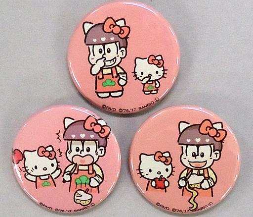 【中古】バッジ・ピンズ(キャラクター) おそ松×ハローキティ 缶バッジ3個セット 「おそ松さん×サンリオキャラクターズ カフェ池袋店」