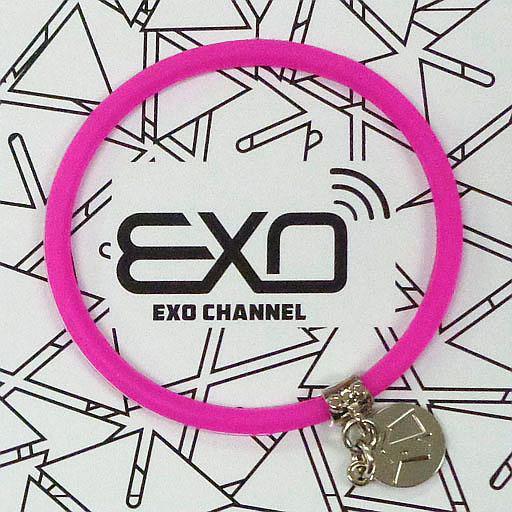 """【中古】アクセサリー(非金属)(男性) レイ チャーム付きシリコンブレスレット(ピンク) 「EXO-L-JAPAN FANCLUB EVENT 2015 """"EXO CHANNEL""""」"""