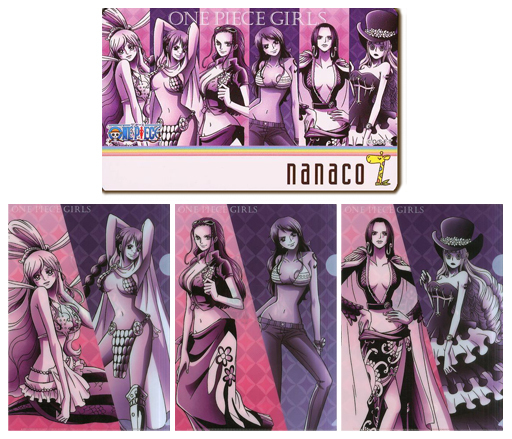 しらほし/ナミ/ニコ・ロビン/計6名「nanacoカード ONE PIECE/尾田栄一郎 [クリアファイル3枚付き]」 セブンイレブン限定/GIRLS