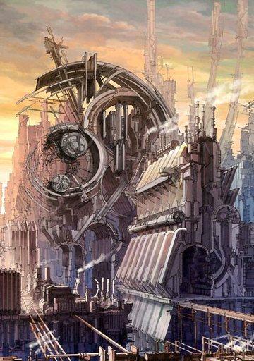 【オリジナル】A4ポスター 古代炉と赤褐色の大工場(K.Kanehira) /futuristic impression