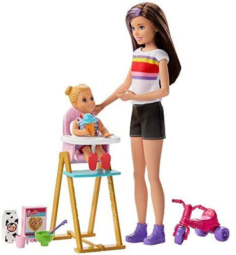 マテル 新品 ドール スキッパーのベビーシッターおしょくじセット 「Barbie -バービー-」