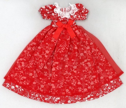 【中古】ドールアクセサリー 22cm用 花柄ドレス(赤) 「リカちゃん」 リカちゃんキャッスル限定