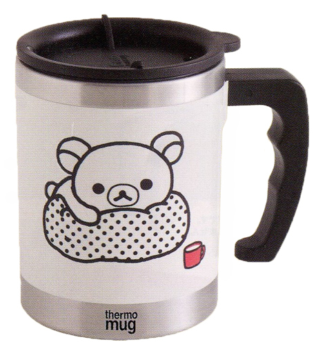 【新品】マグカップ・湯のみ(キャラクター) リラックマ(寝そべり/ホワイト) モノクロリラックマテーマ サーモマグ 「リラックマ」