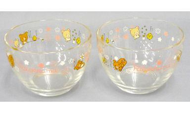 【中古】皿・茶碗(キャラクター) リラックマ&コリラックマ&キイロイトリ(ピンク) ガラスボウル(2個) 「リラックマ」