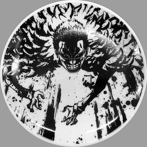 【中古】皿・茶碗(キャラクター) ドンキホーテ・ドフラミンゴ 小皿-墨式デザイン- 「一番くじ ワンピース?悪魔の実の能力者達?」 C賞