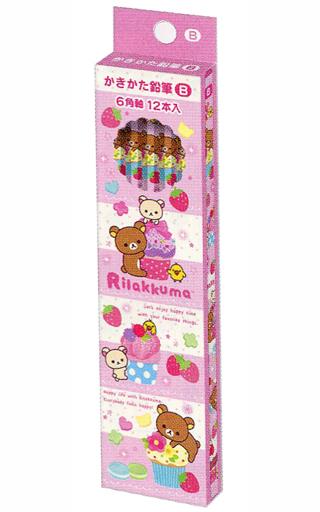 【新品】ペン リラックマ&コリラックマ&キイロイトリ(ケーキ) ゴーゴースクール かきかた鉛筆(12本入) B 「リラックマ」