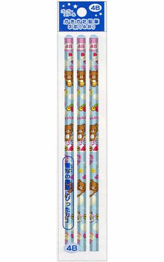 【新品】ペン リラックマ&コリラックマ&キイロイトリ(ケーキ) ゴーゴースクール かきかた鉛筆(3本入) 4B 「リラックマ」