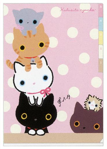 【新品】クリアファイル 集合(ピンク) A4インデックスホルダー(5ポケット) 「靴下にゃんこ」