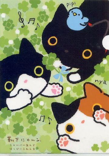 【新品】クリアファイル 靴下にゃんこ&ハチワレのら猫&ミケのら猫 A4クリアホルダー 「靴下にゃんこ」