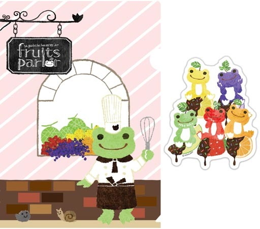 【新品】クリアファイル FRUIT PARLOR A4クリアファイル&ステッカーセット 「pickles the frog-かえるのピクルス-」