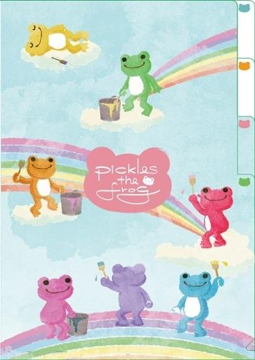 【新品】クリアファイル にじいろ 3ポケットA4クリアファイル 「pickles the frog-かえるのピクルス-」