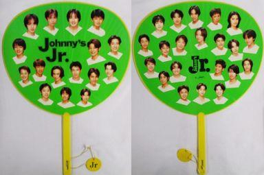 【中古】うちわ(男性) ジャニーズJr.(白Tシャツ) うちわ(緑/黄)