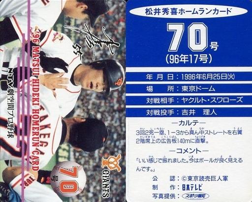 【中古】スポーツ/読売ジャイアンツ/96 松井秀喜ホームランカード 70号/松井秀喜
