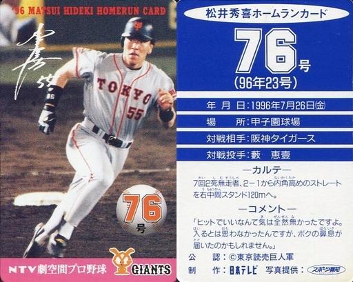 【中古】スポーツ/読売ジャイアンツ/96 松井秀喜ホームランカード 76号/松井秀喜