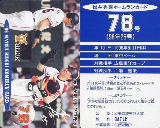 【中古】スポーツ/読売ジャイアンツ/96 松井秀喜ホームランカード 78号/松井秀喜