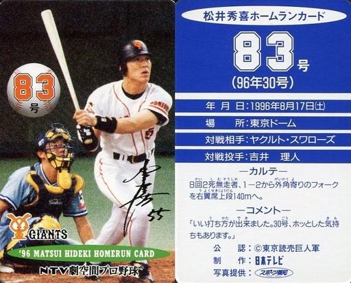 【中古】スポーツ/読売ジャイアンツ/96 松井秀喜ホームランカード 83号/松井秀喜