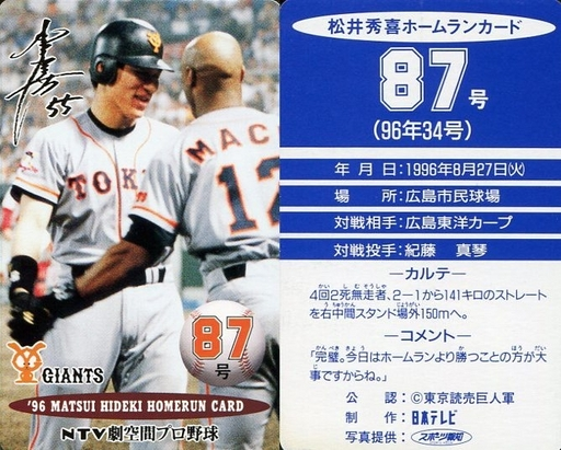 【中古】スポーツ/読売ジャイアンツ/96 松井秀喜ホームランカード 87号/松井秀喜