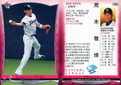 【中古】BBM/レギュラーカード/中日ドラゴンズ/BBM2016 ベースボールカード 2ndバージョン 563 [レギュラーカード] : 荒木雅博