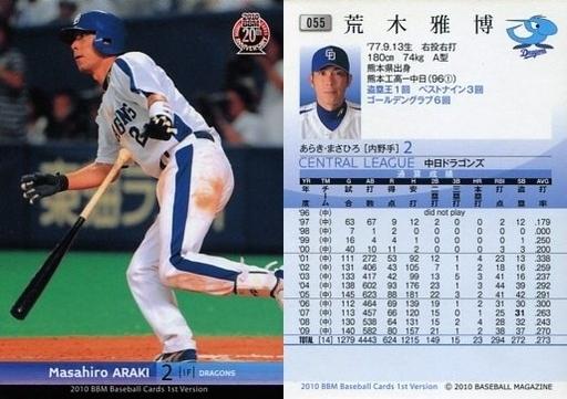 【中古】BBM/レギュラーカード/中日ドラゴンズ/BBM 2010 ベースボールカード 1stバージョン 055 [レギュラーカード] : 荒木雅博