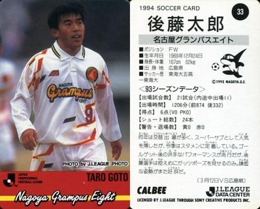 【中古】スポーツ/Jリーグ選手カード/Jリーグチップス1994第1弾/名古屋グランパス  33 [Jリーグ選手カード] : 後藤 太郎