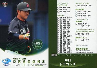【中古】BBM/チームチェックリスト/BBM 2013 ベースボールカード 2ndバージョン 663 : 中日ドラゴンズ