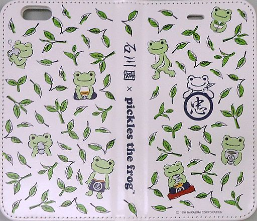 "Pickle (tea pattern) Notebook-type iPhone6 ​​/ 6s cover ""Ishikawaen x pickles the frog-"""