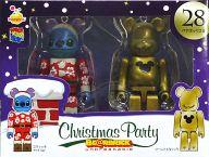 [箱欠品] BE@RBRIC-ベアブリック- 28.スティッチ サンタVer.&ゴールドメタリック 「Happyくじ ディズニー Christmas Party BE@RBRIC」 ペアボックス賞