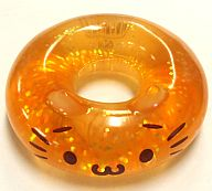 ねこドーナツ(オレンジ) ラメ入りクリアマスコット 「ねこドーナツ」