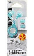 コード巻き取り式ヘッドフォン(ブルー)