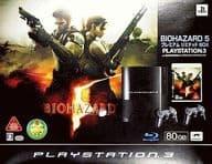 PLAYSTATION 3本体(80GB) BIOHAZARD 5 プレミアム リミテッド BOX(クリアブラックオリジナルロゴ)(状態:ゲームソフト欠品、本体状態難)