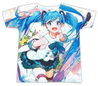 """Hatsune Miku Full Graphic T-shirt White L size """"Hatsune Miku Magical Mirai 2017"""""""
